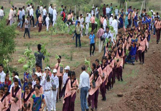 Volunteers help plant trees in India's Madhya Pradesh state on July 2, 2017.