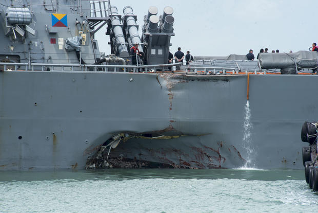 USS John S. McCain arrives at Changi Naval Base