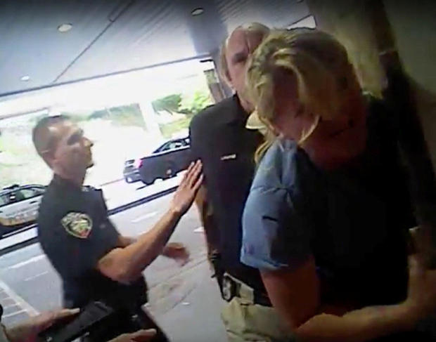 Nurse Alex Wubbels is seen during an incident at University of Utah Hospital in Salt Lake City in this still photo taken from police body-worn camera video taken July 26, 2017, and provided Sept. 1, 2017.