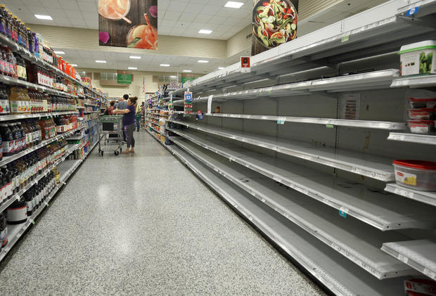 Empty shelves at a supermarket in preparation for the arrival of Hurricane Irma making landfall in Kissimmee, Florida