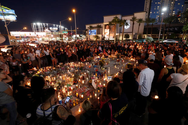 Lights dim on Las Vegas Strip one week after massacre