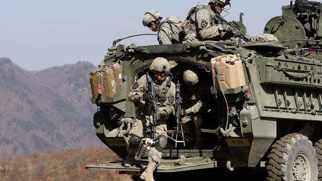 U.S. soldiers from Fort Lewis, Washington, participate in an exercise on March 7, 2011, in Pocheon, South Korea.
