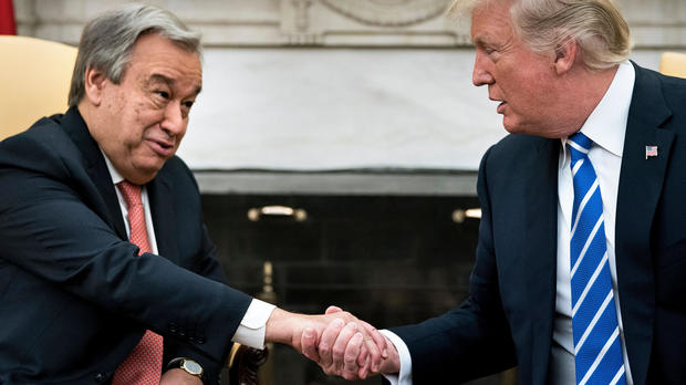 U.N. Secretary-General Antonio Guterres and President Trump shake hands before a meeting in the Oval Office of the White House in Washington on Oct. 20, 2017.