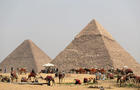 FILE PHOTO: A group of camels and horses stand idle in front of the Great Pyramids awaiting tourists in Giza
