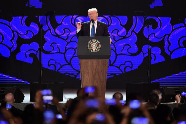 U.S. President Donald Trump speaks on the final day of the APEC CEO Summit, part of the broader Asia-Pacific Economic Cooperation (APEC) leaders' summit, in Danang
