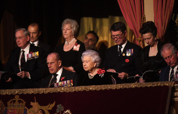 The Duke of Edinburgh, Queen Elizabeth II, the Princess Royal, Sir Tim Laurence and the Prince of Wales attend the annual Royal Festival of Remembrance at the Royal Albert Hall, in London