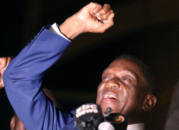 Zimbabwe's former vice president Emmerson Mnangagwa, who is due to be sworn in to replace Robert Mugabe as President, addresses supporters in Harare