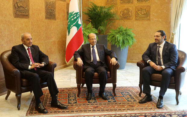 Lebanese President Michel Aoun meets with Saad al-Hariri, who announced his resignation as Lebanon's prime minister from Saudi Arabia and Lebanese Parliament Speaker Nabih Berri at the presidential palace in Baabda