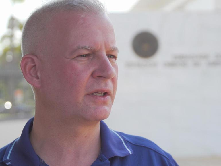 Paul Hoerig outside the U.S. Embassy in Brasilia