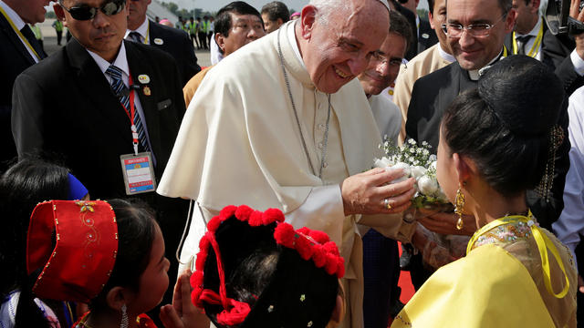 Pope Francis arrives at Yangon International Airport