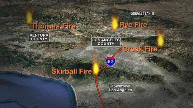 A map shows where wildfires are blazing in Southern California.