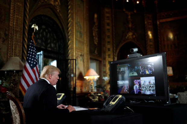 Trump Wishes Troops Merry Christmas Via Video Conference