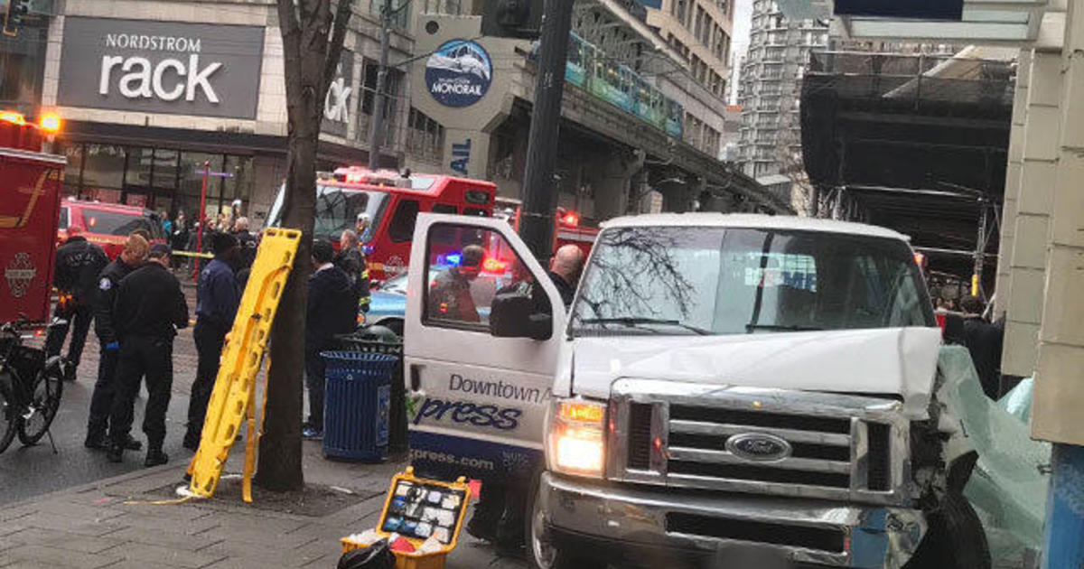 Van crashes into building in downtown seattle injuring 6 for 7 salon downtown seattle