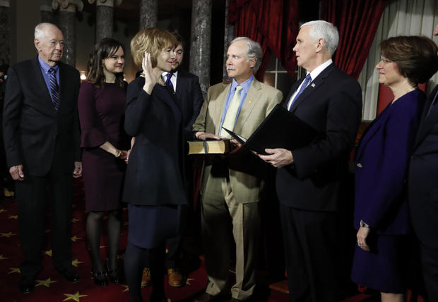 U.S. Vice President Pence ceremonially swears in U.S. Senator-designate Smith in the Old Senate Chamber on Capitol Hill in Washington