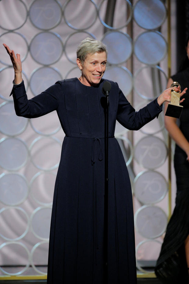 """Frances McDormand, wins Best Performance by an Actress in a Motion Picture Drama for """"Three Billboards Outside Ebbing, Missouri"""" at the 75th Golden Globe Awards in Beverly Hills, California"""