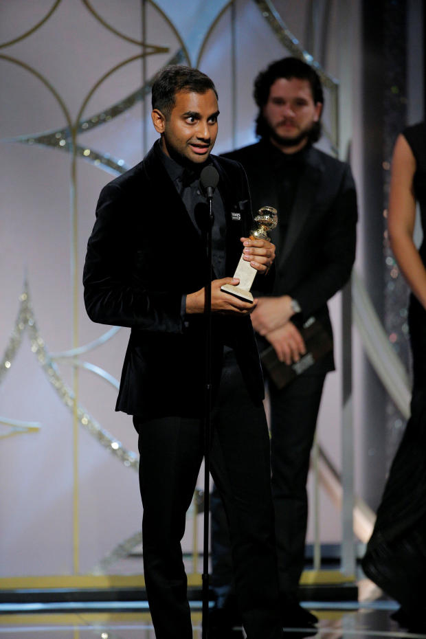 """Aziz Ansari wins Best Actor in a Television Series Musical or Comedy """"Master of None"""" at the 75th Golden Globe Awards in Beverly Hills, California"""