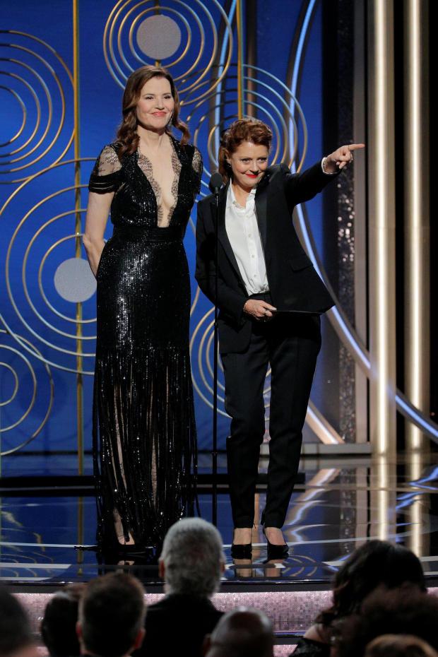 Presenters Geena Davis and Susan Sarandon at the 75th Golden Globe Awards in Beverly Hills, California