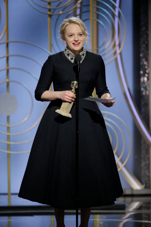 """Elizabeth Moss speaks after winning Best Performance by an Actress in a Television Series Drama """"The Handmaid's Tale"""" at the 75th Golden Globe Awards in Beverly Hills"""