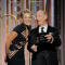 Presenters Sharon Stone and J.K. Simmons at the 75th Golden Globe Awards in Beverly Hills, California