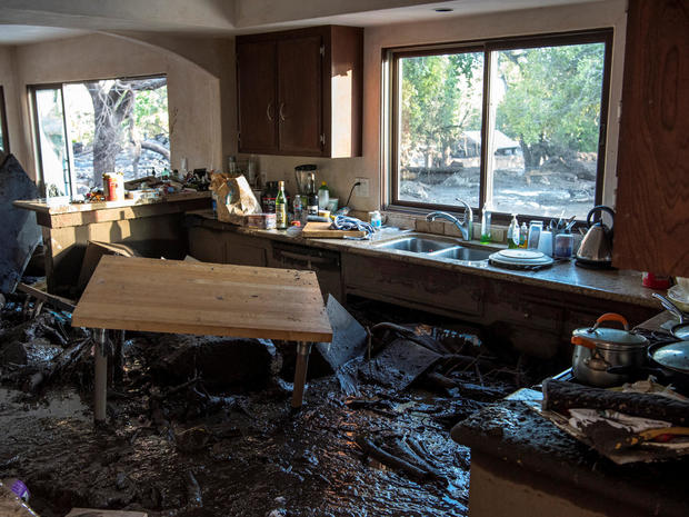 A kitchen in a home on Glen Oaks Road damaged by mudslides in Montecito