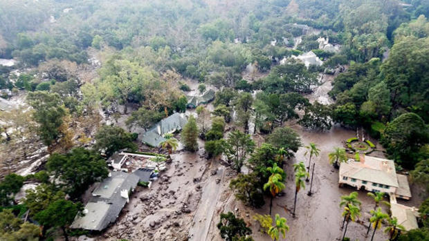 Mudflow and damage from mudslides are pictured in this aerial photo taken from a Santa Barbara County Air Support Unit Fire Copter over Montecito