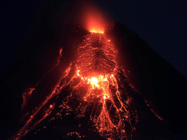 Lava flows from the crater of Mount Mayon Volcano during an eruption in Legazpi city