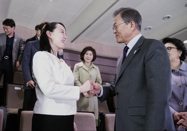 South Korean President Moon Jae-in talks with Kim Yo Jong, the sister of North Korea's leader Kim Jong Un, after watching North Korea's Samjiyon Orchestra's performance in Seoul
