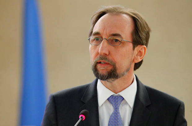 Zeid Ra'ad al-Hussein, U.N. High Commissioner for Human Rights, addresses the Human Rights Council at the United Nations in Geneva