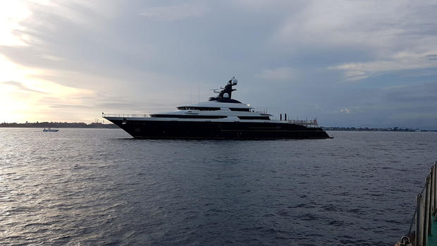 A seized a luxury yacht sought by the U.S. Department of Justice (DOJ) as part of a multi-billion dollar corruption investigation is seen off the shore of Banoa, on the resort island of Bali,