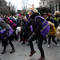 Women dance during a protest as as part of a nationwide feminist strike on International Women's Day in Madrid