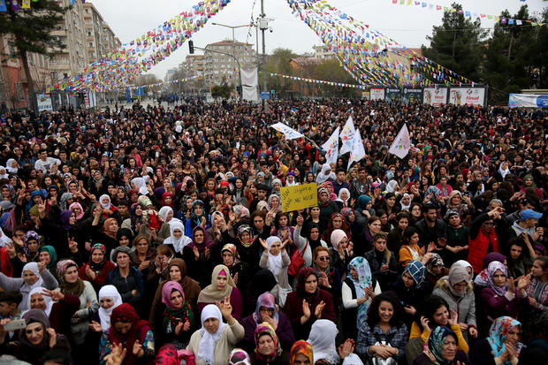 Women gather during a rally on the International Women's Day in Diyarbakir