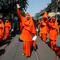 Hindu nuns shout slogans during a rally to mark the International Women's Day in Kolkata