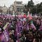 People gather during nationwide feminist strike on IWD at Cibeles Square in Madrid