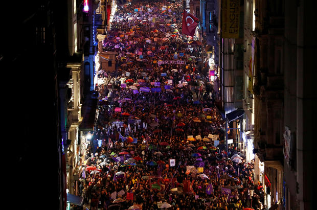 Activists march at the main shopping and pedestrian street of Istiklal during a rally on the International Women's Day in Istanbul