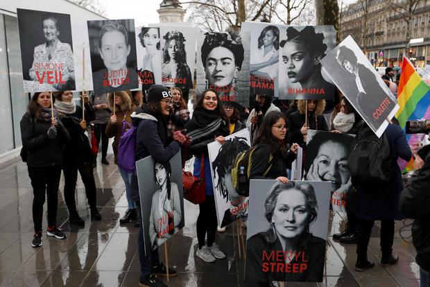 Demonstrators gather Place de la Republique in Paris to mark the International Women's Day