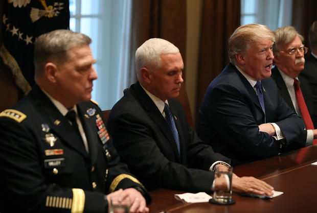 President Trump Gets Briefed By Senior Military Leadership At White House