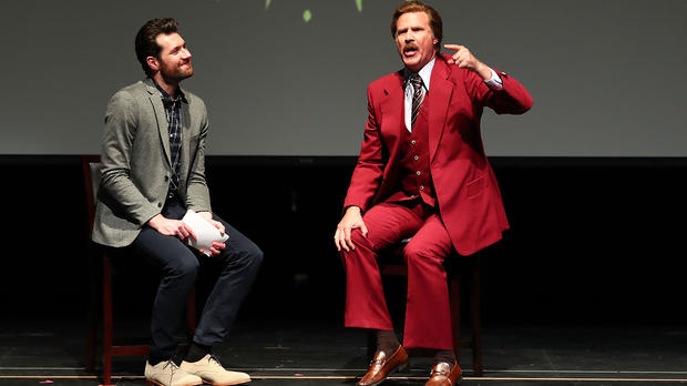 Billy Eichner and Ron Burgundy (Will Ferrell) appear onstage at Glam Up The Midterms at Oceanside High School Performing Arts Center to encourage and energize young people to vote, on April 12, 2018, in Oceanside, California.