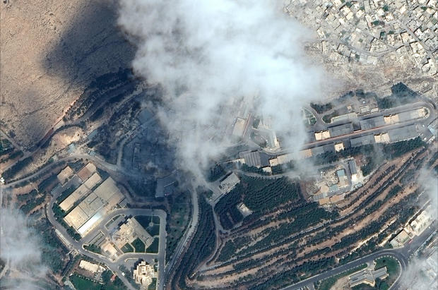 Satellite image shows the Barzah Research and Development Center after being struck in Damascus