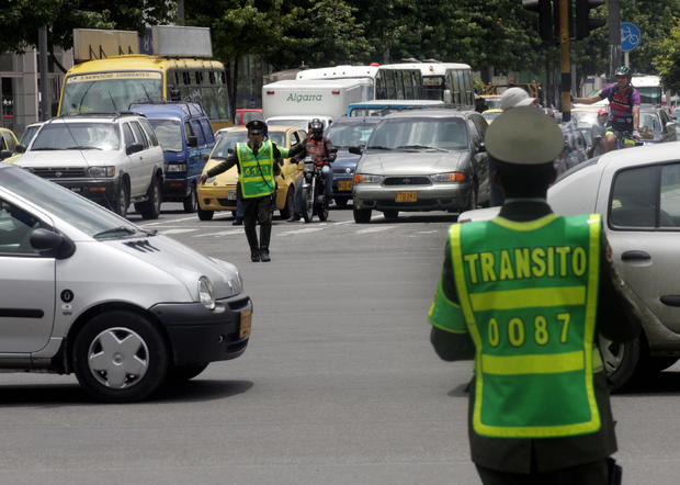 Traffic police work in a crossroads of B