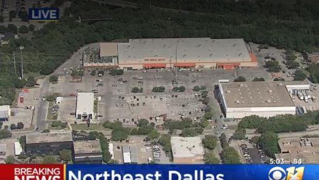 The scene of a shooting at a Dallas Home Depot that reportedly injured two law enforcement officers                        CBS Dallas  Fort Worth