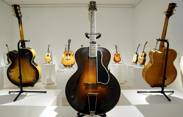 A Gibson L-5 guitar circa 1929, is shown at Christie's, in New York