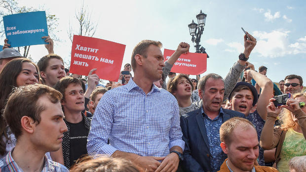 Alexei Navalny, Putin's most prominent foe, detained at protest in Moscow