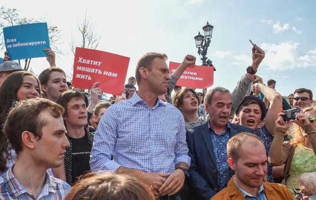 Russian opposition leader Alexei Navalny attends a protest rally ahead of President Vladimir Putin's inauguration ceremony, Moscow