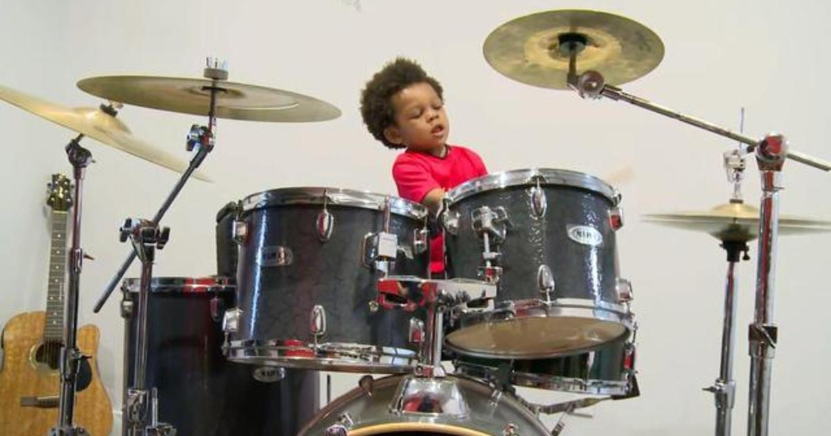 2 year old drummer lennox howard noble bounces to the beat of his
