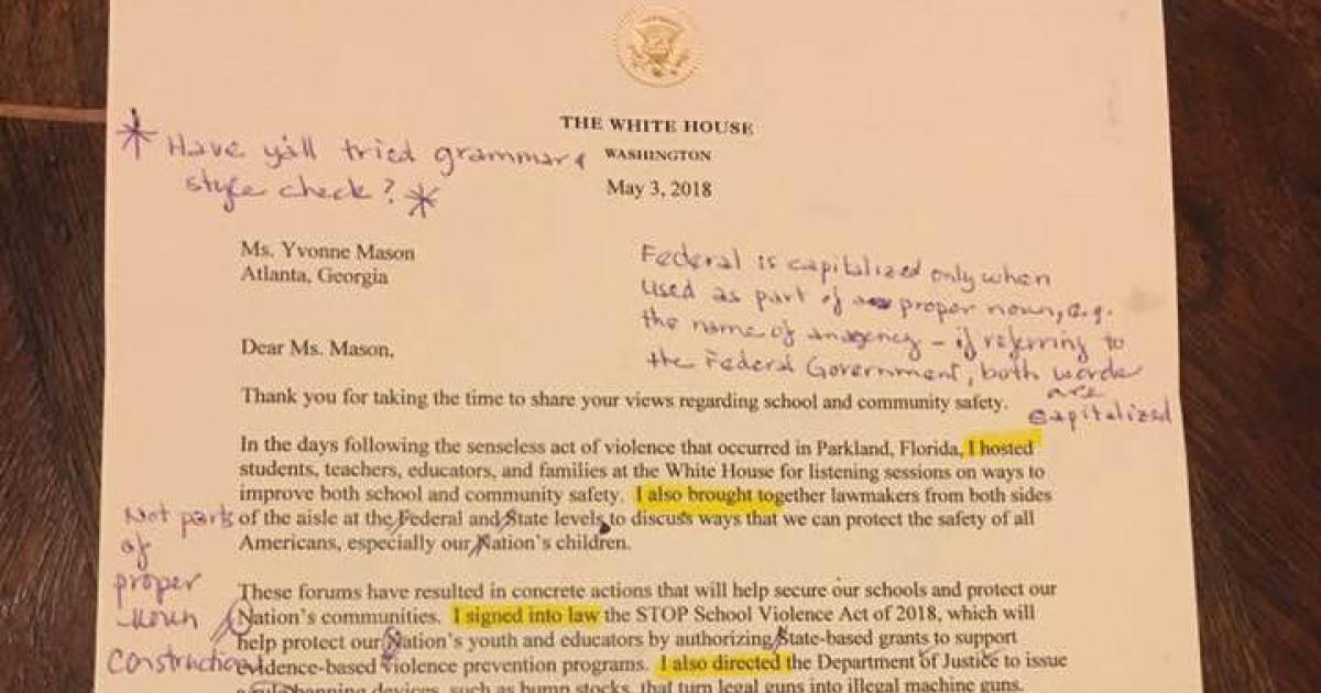 retired teacher critiques appalling letter signed by trump cbs news
