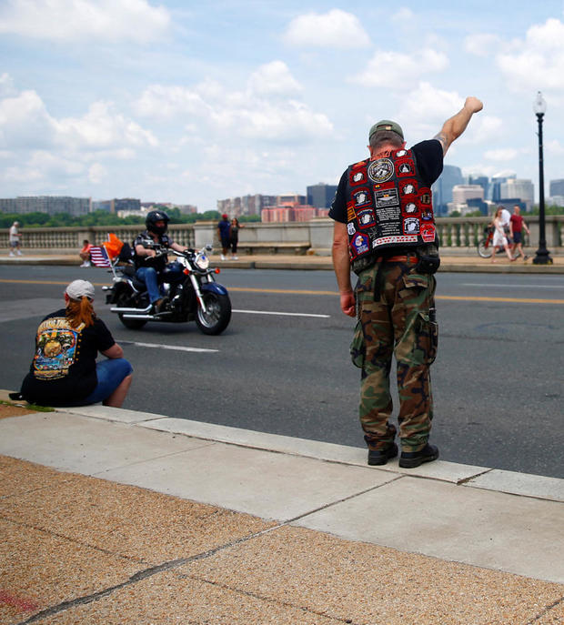 U.S. military veterans and their supporters gather for the annual Rolling Thunder motorcycle rally in Washington