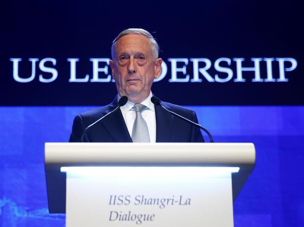 U.S. Secretary of Defence Jim Mattis speaks at the IISS Shangri-la Dialogue in Singapore