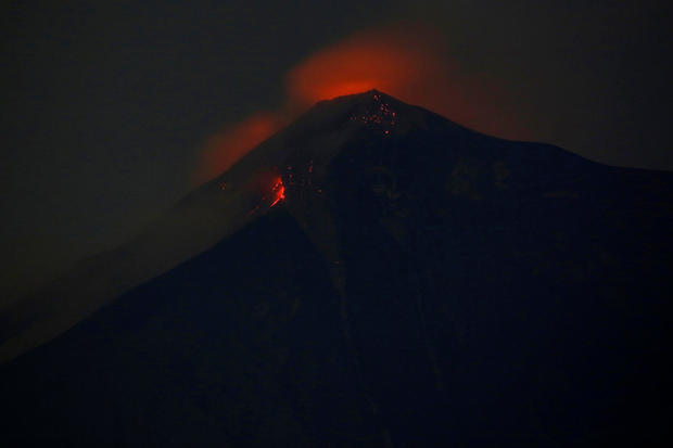 Fuego volcano is pictured after it erupted violently, in San Juan Alotenango