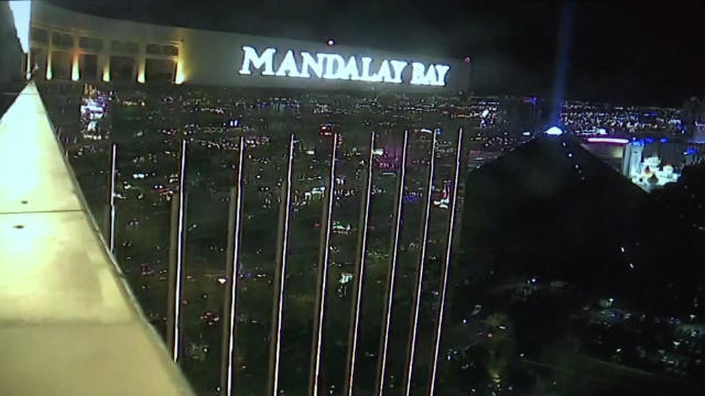 Surveillance video shows the Mandalay Bay resort in Las Vegas on Oct. 1, 2017, the night of a deadly mass shooting on a country music festival below the resort.