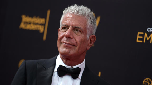 Anthony Bourdain arrives at the Creative Arts Emmy Awards at the Microsoft Theater on Sept. 11, 2016, in Los Angeles.